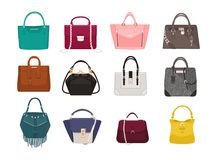 Set of stylish women s handbags - tote, shopper, hobo, bucket, satchel and pouch bags. Trendy leather accessories of Royalty Free Stock Images