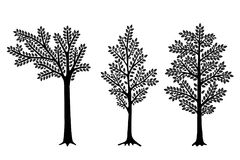 Set of Stylized abstract trees isolated on white background. Vector illustration. Can be used for interior decoration stock illustration