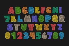 Darkid. Set of stylized alphabet letters and numbers. , cartoon style font type. kids, colorful typeface design. comics or animation decorative typesetting Stock Image