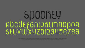 Spookey. Set of stylized alphabet letters and numbers. , handwritten font type. hand drawn typeface design. modern decorative brush typesetting Royalty Free Stock Photos
