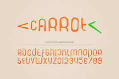 Carrot. Set of stylized alphabet letters and numbers. vector, cartoon style font type. kids typeface design. comics or animation decorative typesetting Stock Photos
