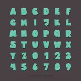 Set of stylized alphabet letters and numbers. vector, cartoon style font type. Kids typeface design. comics or animation decorative typesetting stock illustration