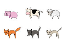 Set of stylized  animals. Pig and cow and sheep and fox and dog and cat in a beautiful set Royalty Free Stock Photo