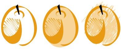 Set of Stylized apricot isolated Royalty Free Stock Photos