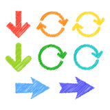 Set of stylized arrows. Colorful stylized scribble arrows. Vector illustration Stock Images