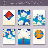 Set of stylized autumn brochures Stock Photo