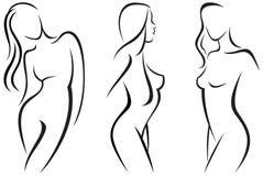 Set stylized beautiful women silhouettes Royalty Free Stock Photos