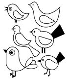 Set of stylized birds Royalty Free Stock Photo