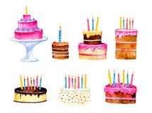 Set of stylized birthday cakes with candles. Hand drawn cartoon watercolor sketch illustration isolated on white background stock illustration