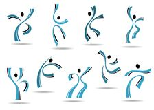 Set of stylized blue icons of dancing people. And sportsmen jumping and leaping with outspread arms Royalty Free Stock Photo