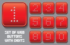 Set of stylized buttons with different digit Stock Photos
