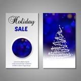 Set of stylized Christmas tree invitation, flyer Stock Photo