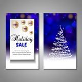 Set of stylized Christmas tree invitation, flyer Stock Images