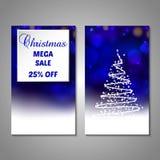 Set of stylized Christmas tree invitation, flyer Royalty Free Stock Photography