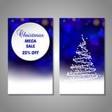 Set of stylized Christmas tree invitation, flyer Stock Photos