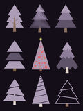 Set of stylized Christmas trees. Vector collection firs. Stock Photography
