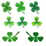 Set of stylized  clover leaves Royalty Free Stock Photos