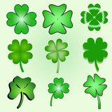 Set of stylized  clover leaves Stock Photography