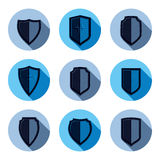 Set of stylized coat of arms, decorative defense shields collect Royalty Free Stock Photo