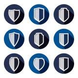 Set of stylized coat of arms, decorative defense shields set Stock Image