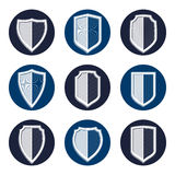 Set of stylized coat of arms, decorative vector defense shields Stock Photo