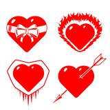 Set of stylized, conceptual hearts. Stock Images
