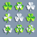 Set of stylized 3d Patricks leaf clover Stock Photography