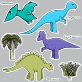 Set of stylized dinosaur stickers Stock Image