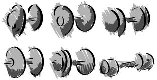 Set of stylized Dumbbell for bodybuilders isolated Stock Images