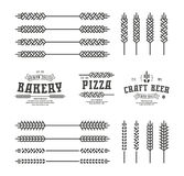 Set of stylized ear wheat. Template labels for bakery, pizza, be Royalty Free Stock Photos