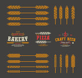 Set of stylized ear wheat. Template labels for bakery, pizza, be Stock Images