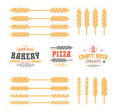 Set of stylized ear wheat. Template labels for bakery, pizza, be Stock Photos
