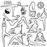 Set Of Stylized Female Yoga Poses. Royalty Free Stock Photos