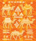 Set of stylized figures of decorative Camels Royalty Free Stock Photos