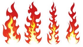 Set of Stylized fire on white background. Stylized fire on white background Royalty Free Stock Images