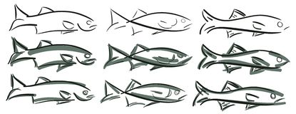 Set of stylized fish  Stock Photo