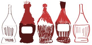 Set of stylized flasks of wine Royalty Free Stock Images