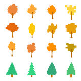 Set of stylized flat autumn tree icons, vector illustration, iso. Lated on white background Stock Photos