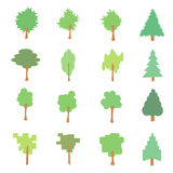 Set of stylized flat tree icons, vector illustration,. On white background Royalty Free Stock Photos