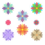 Set of stylized flowers (blooms). Stock Photo