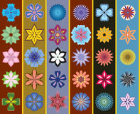 A set of stylized flowers. Seamless background Stock Photo