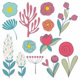 A set of stylized flowers. Vector elements for design Royalty Free Stock Photos