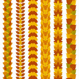 Set of stylized foliate borders made of different tree leaves, such as ginkgo, tulip tree, ash, birch, maple and poplar Stock Photography
