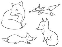Set of stylized foxes Royalty Free Stock Images