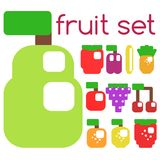 Set of stylized fruits and berries. royalty free stock images