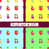 Set of stylized fruits and berries. stock photos