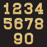 Set of stylized gold texture numbers with metallic sheen and stroke. Set of stylized gold textured numbers with metallic sheen and stroke Stock Images