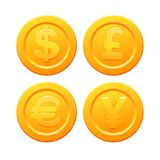 Set of stylized coins with currency symbols Stock Image