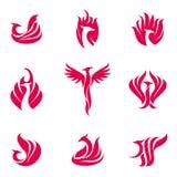 Phoenix bird logo. Set of stylized graphic phoenix bird logo templates. Collection of creative phoenix bird logotype templates, growth, development, power Stock Images