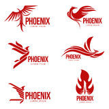 Set of stylized graphic phoenix bird logo templates, vector illustration Stock Images